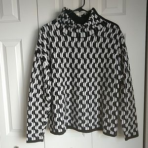 Nordstrom Collection Cashmere bk & wh sweater M